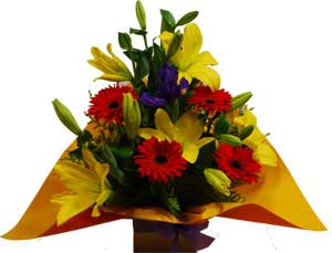 A001 Collins Street Melbourne created by ABC Flowers Fitzroy with  Lilies, Iris(or other purple flowers) and Gerberas