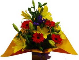 ABC Flowers Fitzroy Melbourne Deliver A001 Collins Street - Flower Arrangement with Lilies, Iris(or other purple flowers) and Gerberas Melbourne Wide