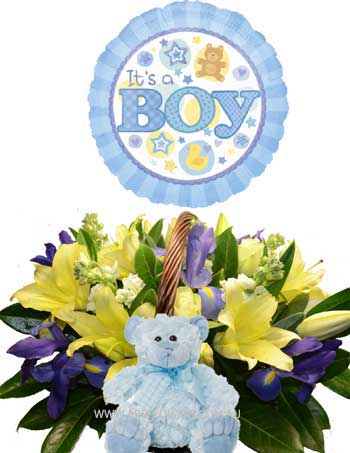 A003 Bourke New Born Baby Boy Packeage with a basket of flowers, baby boy teddy bear, and baby boy balloon