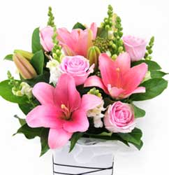 ABC Flowers St. Vincent's Hospital Melbourne Delivery A004 Flower Box Arrangement Melbourne Wide Free Delivery to all Melbourne Inner Suburbs
