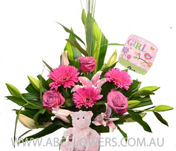 A005 Lonsdale Flower Gift Pack with Pink Teddy Bear, and New Born Baby Balloon - Free Delivery Melbourne Inner Suburbs