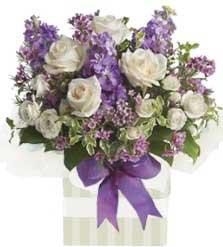 ABC Flowers St. Vincent's Hospital Melbourne Deliver A006 South Bank purple and white flower box arrangement melbourne wide