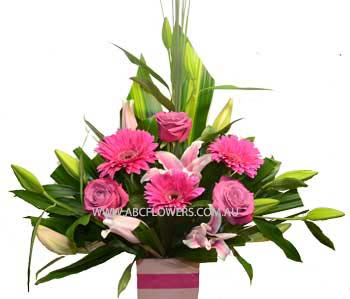 ABC Flowers Melbourne Deliver A009 Spring Street -Flower Arrangement with Oriental Lilies, Roses, and Gerberas free to Melbourne Inner Suburbs
