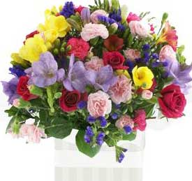 ABC Flowers St. Vincent's Hospital Melbourne deliver A016 multi colours seasonal flower box arrangement melbourne wide