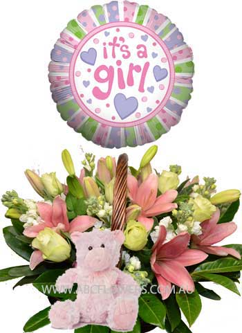 A032 Brunswick New Born Baby Girl Flowers Basket with Teddy Bear and Balloon