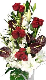 ABC Flowers st. vincent's hospital melbourne deliver a038 kew a tall ceremic flower arrangement in red and white melbourne wide free delivery to all melbourne inner suburbs