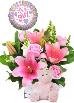 A040 East Melbourne Pink box arrangement with pink teddy bear, and new born baby girl balloon