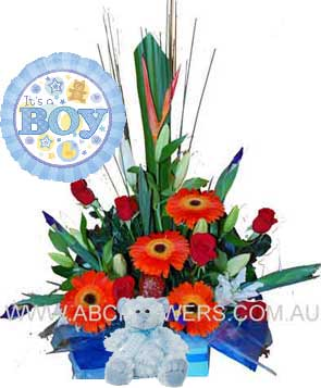 A045 Epworth - Baby Boy Gift Pack with Lilies, Roses, Gerberas, Iris, other flowers, teddy bear, and balloon free delivery to melbourne hospitals