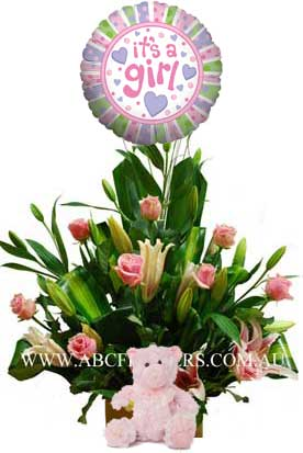 A047 Frances - Baby Girl Gift Pack with Oriental Lilies, Long Stem Roses, Teddy Bear, and Balloon melbourne wide delivery