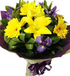 eastern hill florist st. vincent's hospital fitzroy melbourne deliver b023 middle park bouquet of tiger lilies gerberas and purple flowers melbourne wide 7 days a week