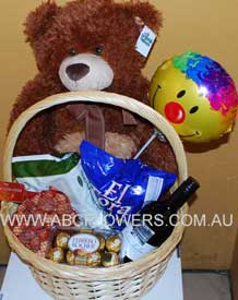 ABC Flowers st. vincent's hospital fitzroy melbourne deliver h005 food basket with chocolate wine and teddy bear melbourne wide free delivery melbourne inner suburbs