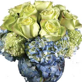 eastern hill florist st. vincent's hospital fitzroy melbourne deliver v003 rose and hydrangea in a fish bowl melbourne wide 7 days a week free delivery melbourne inner suburbs