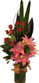 ABC Flowers st. vincent's hospital fitzroy melbourne deliver v016 monica red roses and pink oriental lilies in a tall vase melbourne wide free delivery melbourne inner suburbs