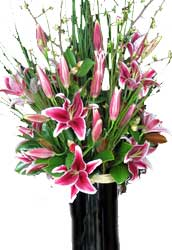 ABC Flowers st. vincent's hospital melbourne fitzroy deliver v020 pink oriental lilies in a tall vase melbourne wide free delivery melbourne inner suburbs 7 days a week