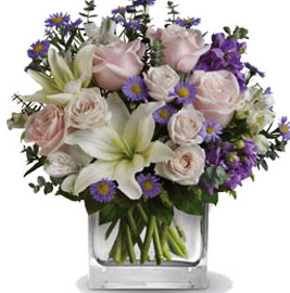 ABC Flowers Fitzroy Melbourne Deliver V021 Watercolour Wishes - Flower Vase Arrangement with Pink Roses, White Lilies, and Purple Flowers Melbourne Wide Delivery