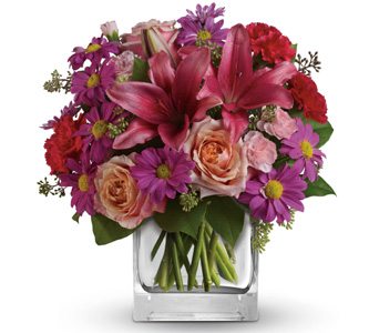 ABC Flowers st. vincent's hospital melbourne fitzroy deliver V022 Enchanted Garden - Flower Vase Arrangement with Orange Roses, Pink Lilies, and Purple Flowers melbourne wide free delivery melbourne inner suburbs 7 days a week